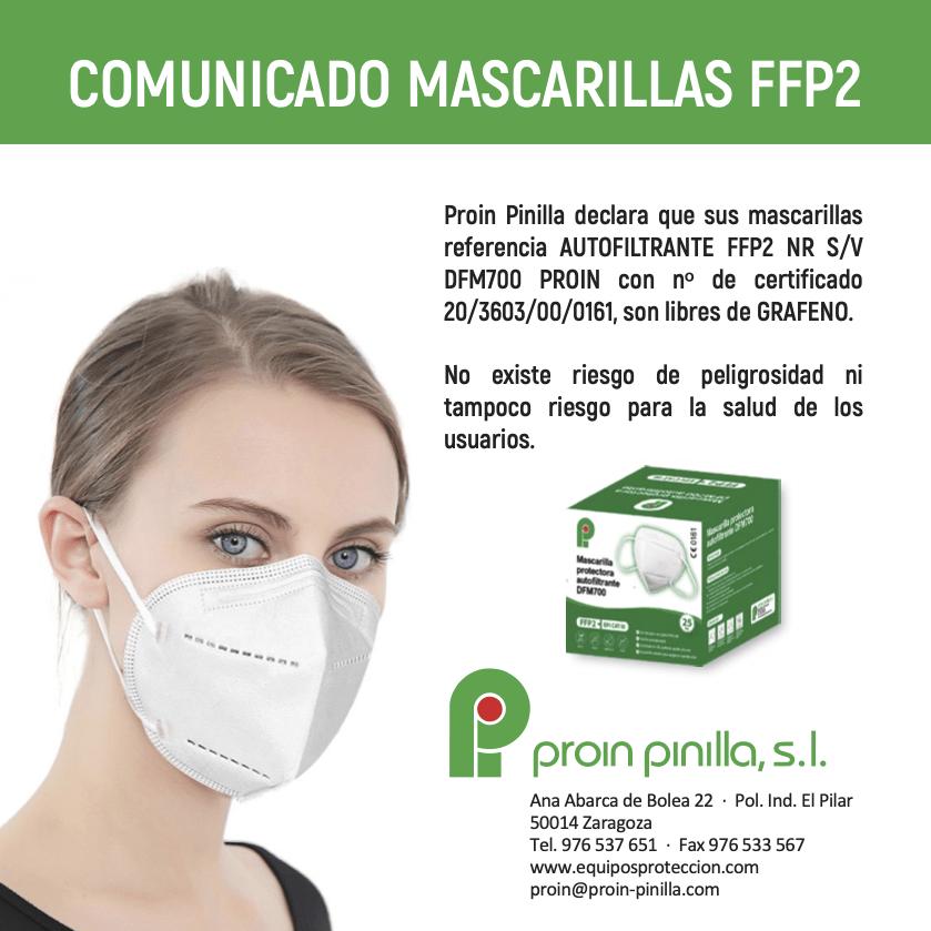 Comunicado mascarilla FFP2 libres de grafeno